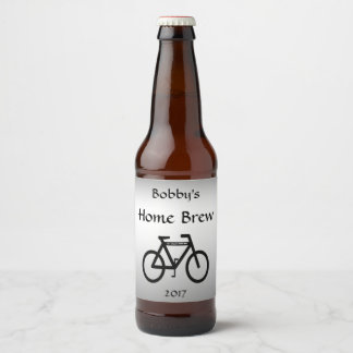 Black Silver Bicycle Abstract Beer Label