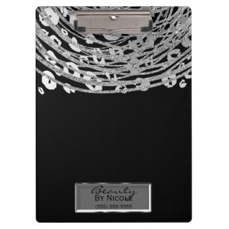 Black Silver Cheetah Leopard Glam Personalized Clipboard