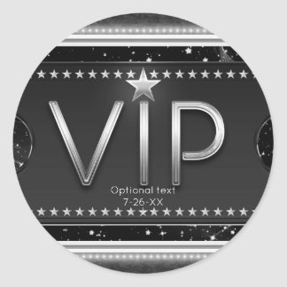 Black & Silver Chic Glam VIP Custom Party Favor Classic Round Sticker