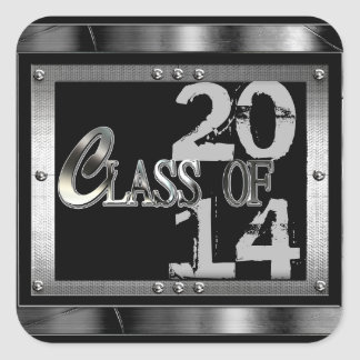 Black  & Silver Class Of 2014 Graduation Stickers