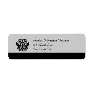 Black & Silver Crest Masquerade Mask Address Label