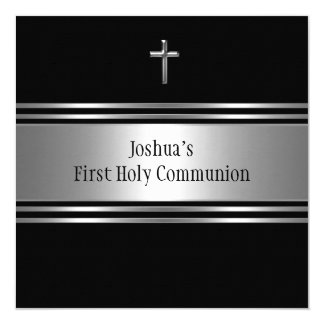 Black Silver Cross Boys First Communion Card