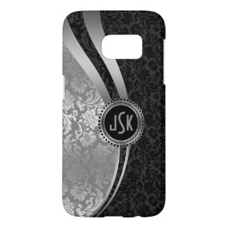 Black & Silver Damasks Geometri Stripes Samsung Galaxy S7 Case