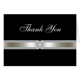 Black Silver Diamond Band Thank You Card