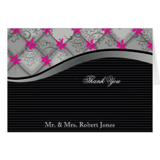 Black Silver Diamond Stripe Anniversary Thank You Note Card