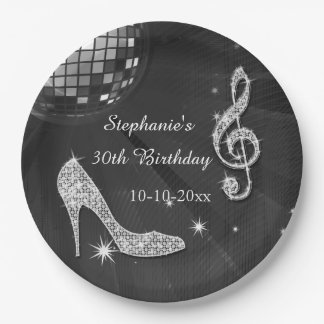 Black/Silver Disco Ball and Heels 30th Birthday Paper Plate