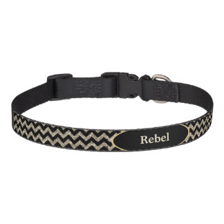Black Silver Faux Glitter Chevron Personalized Pet Collar