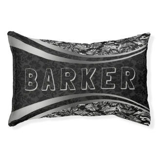 Black & Silver Floral Damasks Pattern Pet Bed