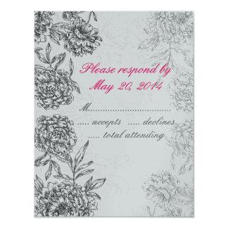 "Black Silver Floral Wedding RSVP Cards Pink 4.25"" X 5.5"" Invitation Card"