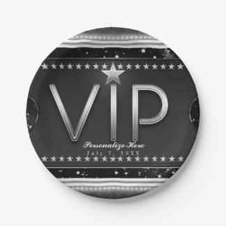 Black & Silver Glam Stars VIP Ticket Custom Party 7 Inch Paper Plate