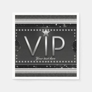 Black & Silver Glam Stars VIP Ticket Custom Party Disposable Napkins