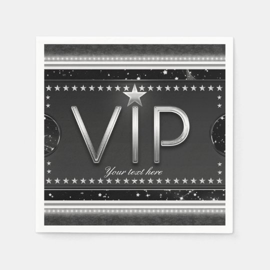 Black & Silver Glam Stars VIP Ticket Custom Party Disposable Napkins