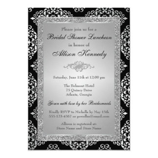 Black, Silver Glitter Damask Bridal Shower Invite