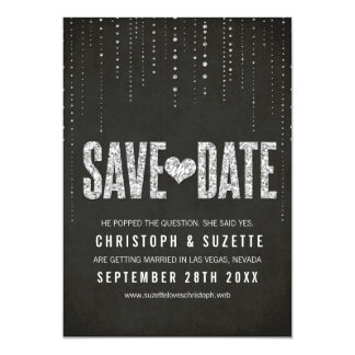 "Black & Silver Glitter Look Save The Date 5"" X 7"" Invitation Card"