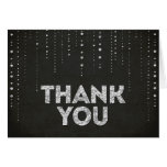 Black & Silver Glitter Look Thank You Card