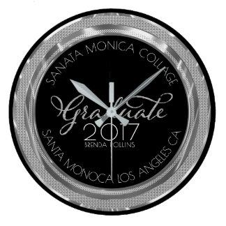 Black & Silver Glitter Modern Typography Graduate Large Clock