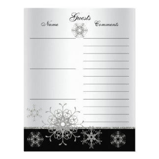Black, Silver Glitter Snowflakes Guest Book Paper