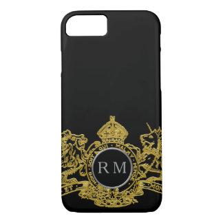 Black Silver Gold Lion Unicorn Emblem Monogram iPhone 8/7 Case