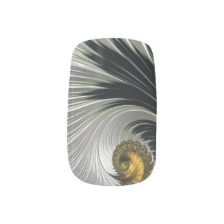Black/Silver/Gold Swirls Minx Minx Nail Art