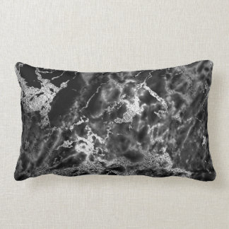 Black Silver Graphite Gray Marble Stone Glam Lumbar Pillow