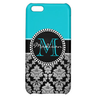 Black silver gray Damask, teal aqua blue iPhone 5C Case