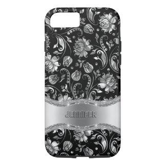 Black & Silver-Gray Floral Damasks iPhone 8/7 Case