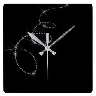 Black Silver Gray Gemms Crystal Swarovski Infinity Square Wall Clock