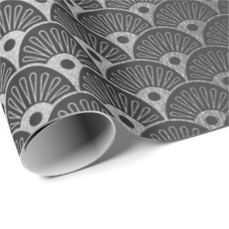 Black Silver Gray  Metallic Seashells Art Deco Wrapping Paper