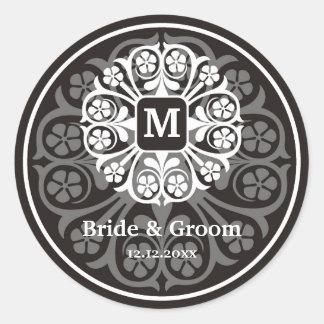 Black Silver Initial M Monogram Seal Party Favor Round Sticker