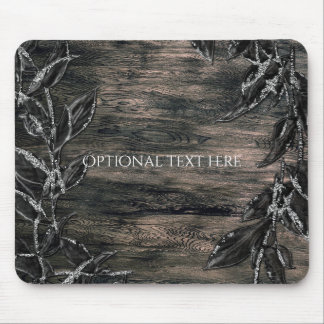 Black & Silver Leaves Dark Elegance Glamour Mouse Pad