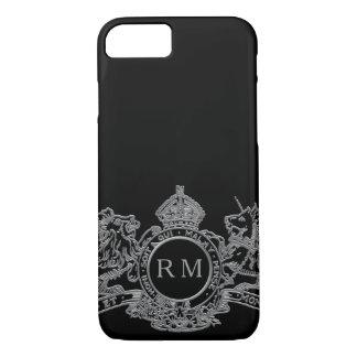 Black Silver Lion Unicorn Crown Emblem Monogram iPhone 8/7 Case