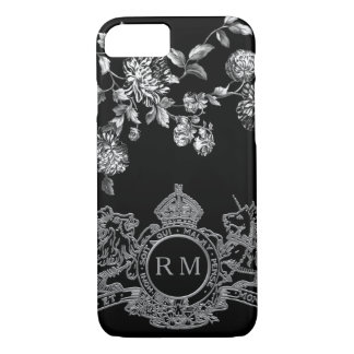 Black Silver Lion Unicorn Emblem Floral Monogram iPhone 8/7 Case