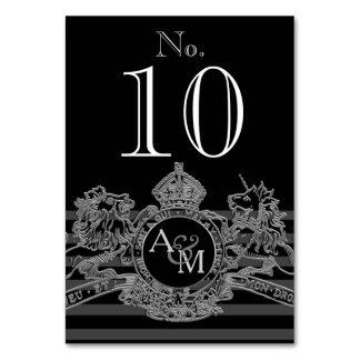 Black Silver Lion Unicorn Regal Emblem Monogram Card