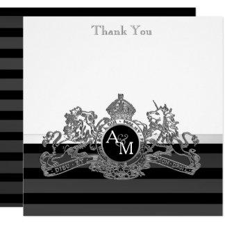Black Silver Lion Unicorn Regal Emblem Thank You Card