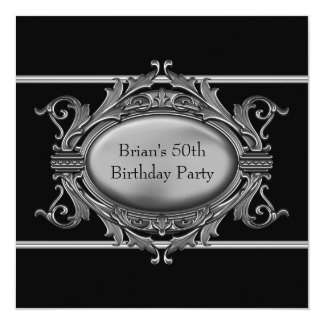 Black Silver Mans 50th Birthday Party Card