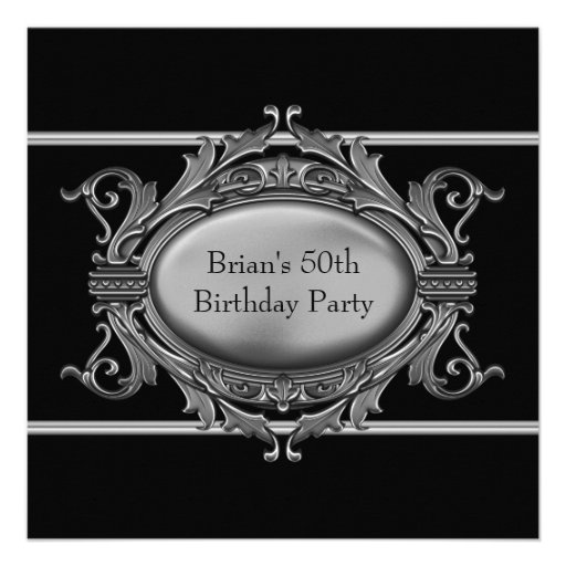 Black Silver Mans 50th Birthday Party Announcements