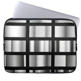 Black Silver Metallic Collage Computer Sleeves