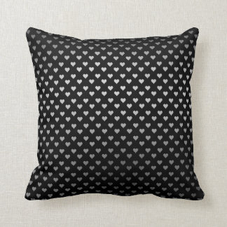 Black Silver Metallic Hearts Confetto Art Deco Throw Pillow