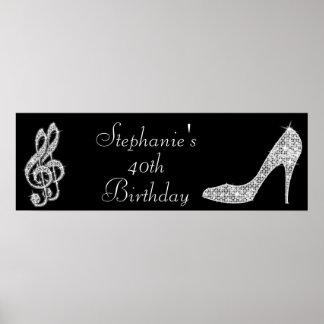 Black/Silver Music Note & Stiletto 40th Birthday Print