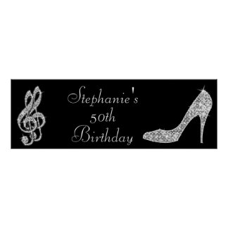 Black/Silver Music Note & Stiletto 50th Birthday Poster