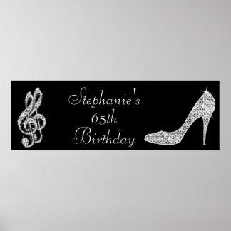 Black/silver Music Note & Stiletto 65th Birthday Poster