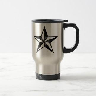 Black & Silver Nautical Star Travel Mug