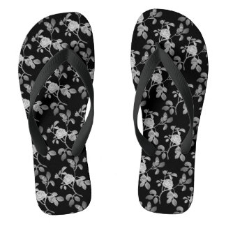 Black Silver old Rose Vine Shower Shoes FlipFlops