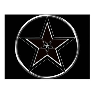 Black & Silver Pentacle with Inverted pentagram Postcard