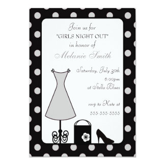 "black & silver polka dot bachelorette party 5"" x 7"" invitation card"