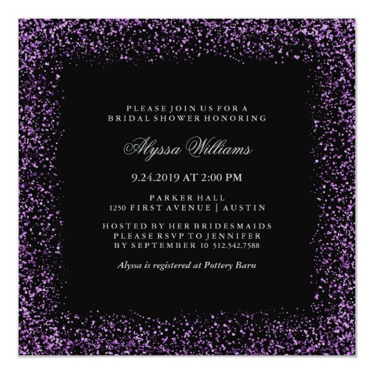 Black Silver Purple Confetti Glam Bridal Shower Card