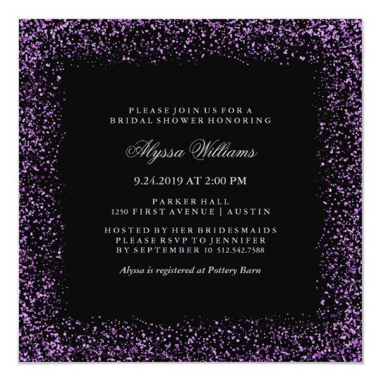 Black Silver Purple Confetti Glam Bridal Shower Card