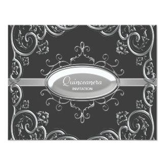"""Black Silver Quinceanera 4.25"""" X 5.5"""" Invitation Card"""