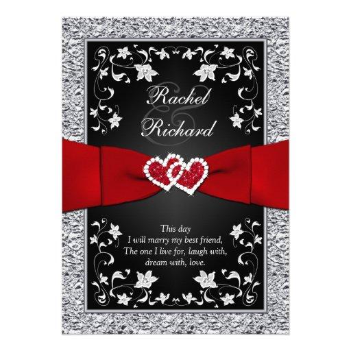 Black Silver Red Hearts, Floral Wedding Invitation