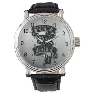 Black & Silver Rock & Roll Logo Wrist Watch 2